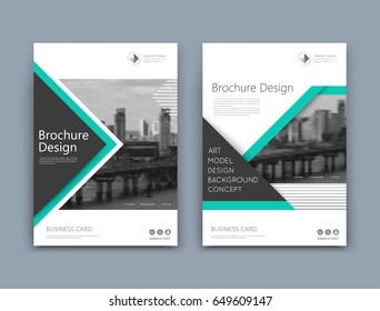Abstract a4 brochure cover design. Template for banner text, ad business card, title sheet model set, info flyer font. Patch vector front page art with urban city river bridge. Green lines figure icon