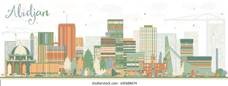 Abstract Abidjan Skyline with Color Buildings. Vector Illustration. Business Travel and Tourism Concept with Modern Architecture. Image for Presentation Banner Placard and Web Site.