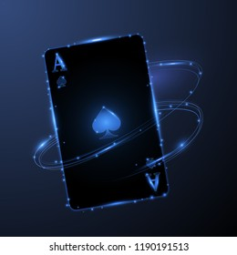 Abstract ace card with glowing effect, vector illustration