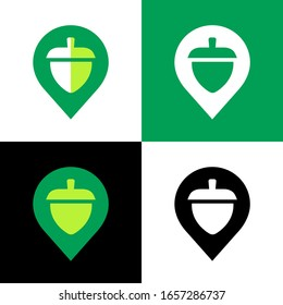 Abstract acorn nut logo icon design, oak seed and map pin symbol - Vector