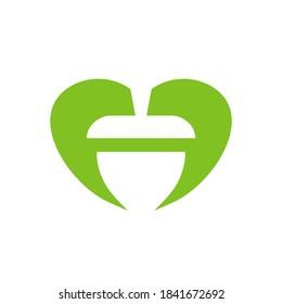 Abstract acorn seed logo, oak nut icon, vector illustration design