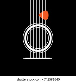 Abstract Acoustic Guitar icon. Creative Idea Concept of Musical. Modern Flat thin line icon designed vector illustration