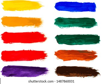 Abstract acrylic brush strokes isolated on white