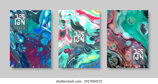Abstract acrylic painting or marble effect. Colorful background in A4 format.
