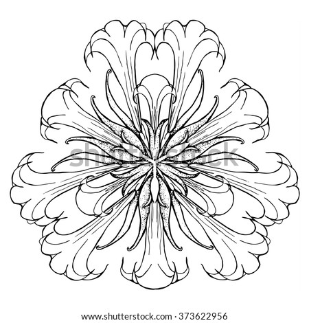Abstract Adult Coloring Page Flower Mandala Large Blooms Of Datura Toxic Plant From South America Sacred