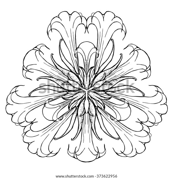 Abstract Adult Coloring Page Flower Mandala Stock ...