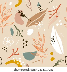 Abstract aesthetic spring or summer seamless pattern with abstract shapes and leaves in light pastel beige and white color background. Greeting card template, wall art, social media post, packaging