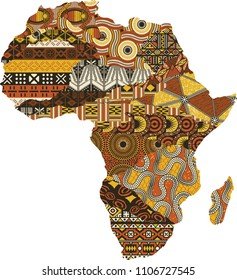 Abstract Africa map fabric patchwork, vector traditional ethnic pattern wallpaper