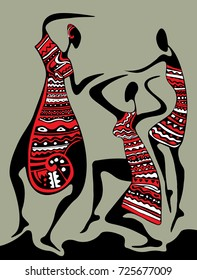 Abstract African Art, Dancing Women (Vector Art)