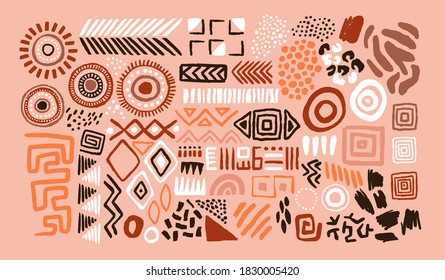 Abstract african art shapes collection, tribal doodle decoration set. Random ethnic shapes, animal print texture and traditional hand drawn icons.