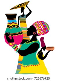 Abstract African Art, Tribal Women (Vector Art)