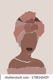 Abstract African woman portrait in minimalistic style. Black women print. Elegant ethnic sketch template.