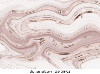Abstract agate slice painting background with rose gold mineral texture.
