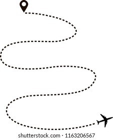 Abstract aircraft flying on white background. Airplane route in dotted line shape. Travel, trip or journey concept vector illustration