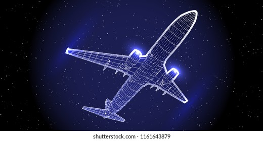 Abstract airliner constructed with  dots. Outline wireframe glowing concept. Aircraft flying in starry sky. Travel, tourism, transport. Airplane vector illustration.
