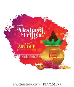 Abstract Akshaya Tritiya Festival Offer Template Design with 50% Discount Tag and Mangal Kalash