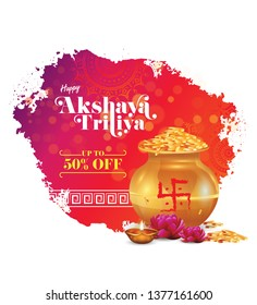 Abstract Akshaya Tritiya Festival Offer Template Design with 50% Discount Tag and Kalash, Gold Coin, Lotus