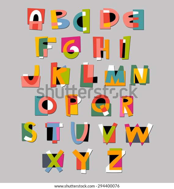 Abstract Alphabet Font Paper Cutout Style Stock Vector