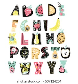 Abstract Alphabet fruit. Creative Kids font. Great for education, home decor. It Be used for funny t-shirt quotes and kids fashion prints. Creative alphabet. Vector Illustration