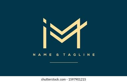 Abstract Alphabet Letter Symbol Icon  IM, MI, I and M
