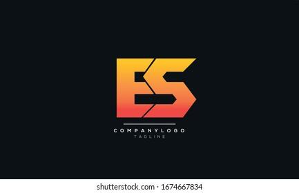 Abstract Alphabet letters monogram icon logo of ES