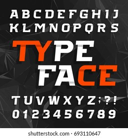 Abstract alphabet typeface. Oblique type letters and numbers on a dark polygonal background. Vector font for your design.