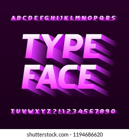 Abstract alphabet typeface. Three-dimensional effect letters, numbers and symbols. Stock vector typography.
