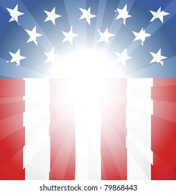 Abstract American flag background with copyspace and focus in centre ready take your text or image