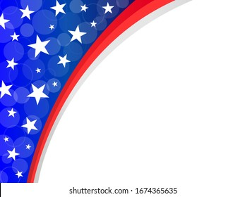 Abstract American flag frame corner with empty space for your text.