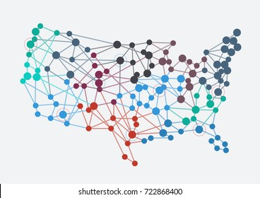 Abstract american network with map and link