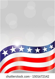 Abstract American symbols background card frame with empty space for your text.