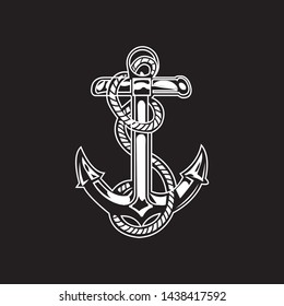 Abstract Anchor design in black background, White Anchor Design for t-shirt - VECTOR
