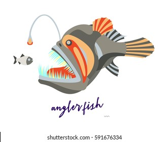 abstract angler fish illustration on white background  fish logo design   vector image