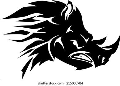 Abstract Angry Rhino Head