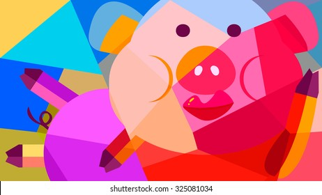 Abstract animal cartoon drawing colorful painting of a lazy pig with glamorous red lips makeup lying down comfortably. Put lipstick on face. Geometric shape decoration background.
