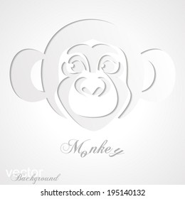 Abstract  animal Greeting card with monkey. Trendy Design Template. Vector Version