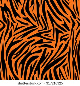 Abstract animal skin pattern. Zebra, tiger stripes. Seamless tiger background texture. Fabric design.