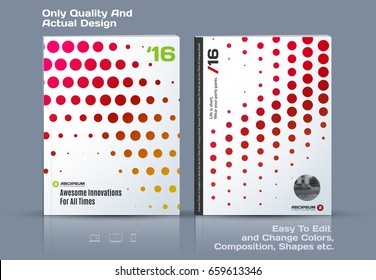 Abstract annual report, business vector template. Brochure design, cover modern layout, flyer in A4 with red rounds, circles, dots for holiday, festival, party with light background.