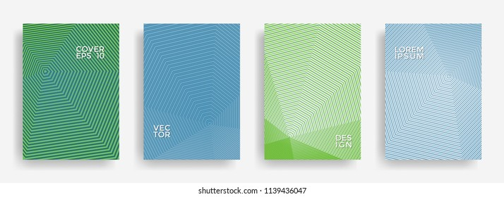 Abstract annual report design vector collection. Gradient halftone grid texture cover page layout templates set. Report covers graphic design, business brochure pages corporate templates.