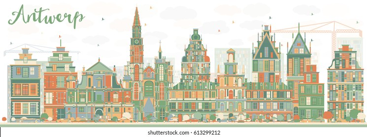 Abstract Antwerp Skyline with Color Buildings. Vector Illustration. Business Travel and Tourism Concept with Historic Architecture. Image for Presentation Banner Placard and Web Site.