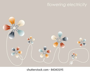 Abstract anusual backdrop with lights like flowers (vector)