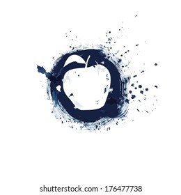 Abstract apple on a round blue background, painted with paint