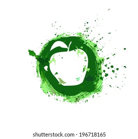 Abstract apple on a round green background, are painted, symbol, vector