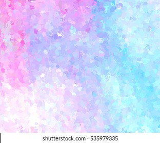 Abstract aquarelle bright color wet brush paint spots vivid element for print. Mosaic colorful blue pink violet white watercolor stylized hand drawn vector background for text design, wallpaper, card