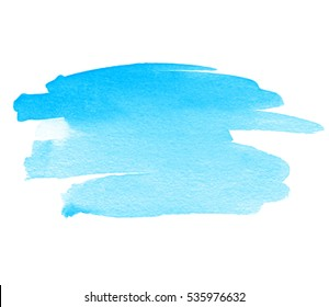 Abstract aquarelle cold color wet brush paint stroke striped element for print, blank. Colorful watercolor blue hand drawn paper texture isolated vector stain on white background for text design, web