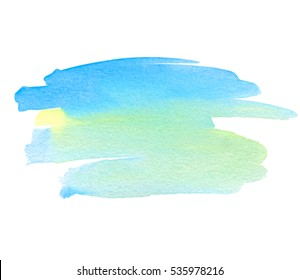 Abstract aquarelle color wet brush paint stroke striped element for print. Colorful watercolor green blue yellow hand drawn paper texture isolated vector stain on white background for text design, web