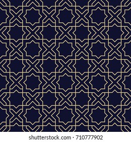 Abstract arabic seamless pattern with star. Geometric islamic ornament, arabian wallpaper. Vector background of dark blue and gold texture