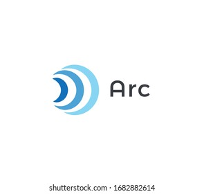Abstract arc icon, blue radio and wifi waves. Signal logo template, flat abstract emblem. Concept logotype design for communication technology. Vector logo.