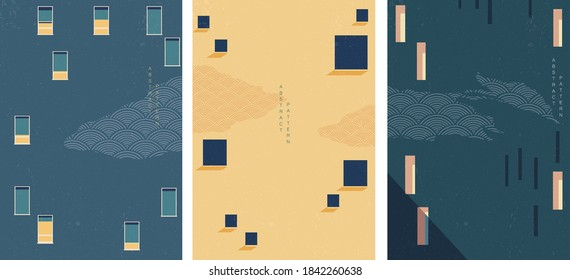 Abstract architectural background geometric pattern vector. Art landscape with construction template. Japanese wave pattern.