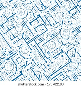 Abstract architectural background. Vector seamless pattern with architectural plan details